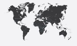 Svartvit politisk översikt av världsvektorn Arkivfoto