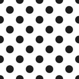 Svartvit polka Dot Seamless Pattern vektor Arkivbilder