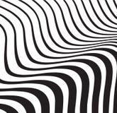 Svartvit randig bakgrund för optiskt vågabstrakt begrepp Royaltyfri Foto