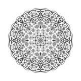 Svartvit rund blom- beståndsdel Arkivfoto