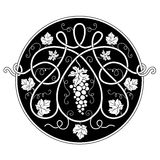 Svartvit rund dekorativ beståndsdel Royaltyfri Fotografi