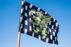 Svartvit rutig heraldisk flagga Royaltyfri Foto