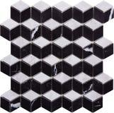 Svartvit sömlös diamant formad mosaisk modell Arkivfoto