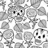 Svartvit sömlös illustration med rosor och sockerskallar Fotografering för Bildbyråer