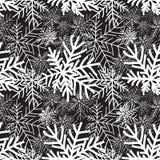 Svartvit sömlös modell för abstrakt vinter Snöskogte Royaltyfri Fotografi