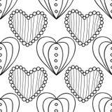 Svartvit sömlös modell med dekorativa hjärtor för färgläggningboken, sida Romantisk prydnad vektor illustrationer