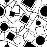 Svartvit sömlös modell med geometriska former Arkivbild