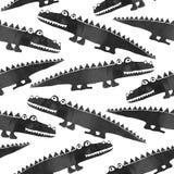 Svartvit sömlös modell med gulliga krokodiler royaltyfri illustrationer