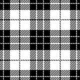 Svartvit sömlös skotsk modell för tartanpläd Vektor Illustrationer