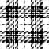 Svartvit sömlös skotsk modell för tartanpläd Stock Illustrationer