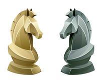 Svartvit schackriddare royaltyfri illustrationer