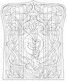 Svartvit sida för att färga Teckning av det härliga fönstret med målat glass i Art Nouveau stil Royaltyfri Fotografi