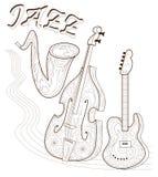 Svartvit sida för att färga Uppsättning av musikinstrument Affisch för tryck Advertizing av jazzkonserten Stock Illustrationer