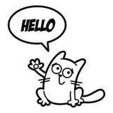 Svartvit sida för Cat Cartoon teckenfärgläggning vektor illustrationer