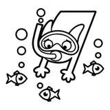 Svartvit sida för Cat Cartoon teckenfärgläggning stock illustrationer