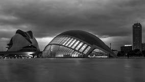 Svartvit sikt av staden av konster och vetenskaper, Valencia, Spanien royaltyfri foto