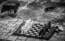 Svartvit sikt på den huvudsakliga fyrkanten från fyren, Colonia del Scramento, Uruguay Royaltyfri Fotografi