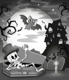 Svartvit skelett- temabild Arkivfoton