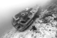 Svartvit skeppsbrott arkivbild