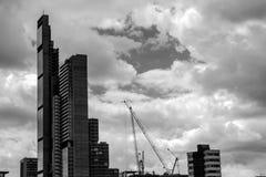 Svartvit skyskrapa royaltyfri fotografi