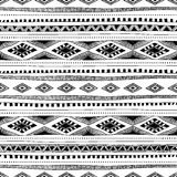 Svartvit sömlös etnisk bakgrund också vektor för coreldrawillustration Royaltyfri Bild