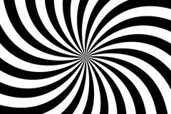 Svartvit spiral bakgrund, virvlande runt radiell modell stock illustrationer
