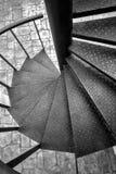 Svartvit spiral trappa Arkivfoto