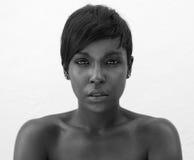 Svartvit stående av den eleganta afrikansk amerikankvinnan Arkivbild