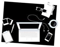 Svartvit stil för lägenhet för illustration för vektor för kontorsskrivbord med stället för text Royaltyfria Bilder