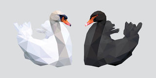 Svartvit svan med den låga polygonen för röd näbb på grå bakgrund vektor illustrationer