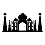 Svartvit Taj mahal tempel Royaltyfria Bilder