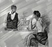 Svartvit teckning av stångplatsen med den ensamma kvinnan och bartendern arkivfoton
