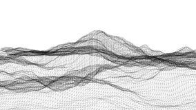 Svartvit terräng för wireframe 3D Royaltyfri Foto