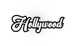 svartvit text för skriftligt ord för Hollywood hand för design för typografilogosymbol stock illustrationer