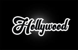 svartvit text f?r skriftligt ord f?r Hollywood hand f?r design f?r typografilogosymbol royaltyfri illustrationer