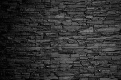 Svartvit textur för bakgrund för kolstenvägg Arkivbild