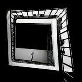 Svartvit trappuppgång, trappa med en hand royaltyfri foto