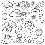 Svartvit uppsättning av naturobjekt Vektortecknad filmsamling av vädersymboler stock illustrationer