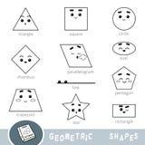 Svartvit uppsättning av olika geometriska former Visuell ordbok vektor illustrationer