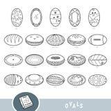 Svartvit uppsättning av ovala formobjekt Visuell ordbok royaltyfri illustrationer