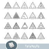Svartvit uppsättning av triangelformobjekt Visuell ordbok stock illustrationer