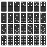 Svartvit uppsättning för dominobricka Fotografering för Bildbyråer