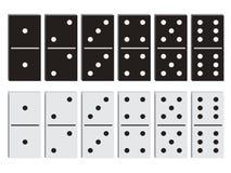 Svartvit uppsättning för dominobricka Arkivfoton