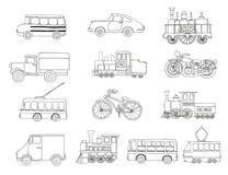 Svartvit uppsättning för vektor av retro motorer och transport vektor illustrationer