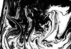 Svartvit vätsketextur Dragen vattenfärghand marmorera illustrationen abstrakt bakgrundsvektor monokrom Arkivbilder