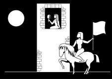 Svartvit vektorbild en skönhet i ett torn och en hjälte på en hästrygg vektor illustrationer