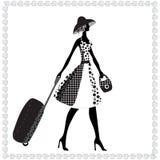 Elegant kvinna med bagage, vektorillustration, Royaltyfri Fotografi