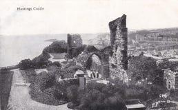Svartvit vykort för tappning av den Hastings slotten royaltyfri foto