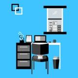 Svartvit workspacevektor royaltyfri bild