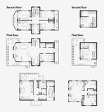 Svartvita arkitektoniska plan royaltyfri illustrationer